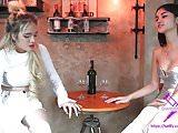 Fetisch-Concept.com - 2 girls with long cast legs Restaurant