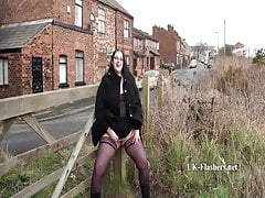 Thick White UK Goth Slut Pisses in Public