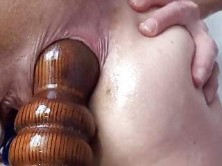 Fucking insertions fisting self bedpost...