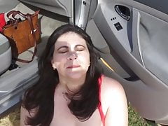 chubby milf mom sucks for a public facial