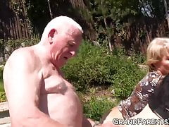 Blonde granny and babe get fucked hard by grandpa outdoors