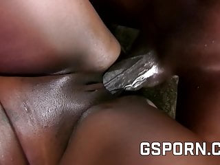 Hot black sex with Barbie Banx wit cum on her ass