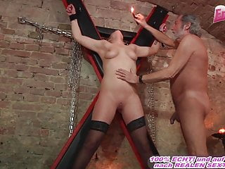 german submissive girl fucks in fetish room with a user