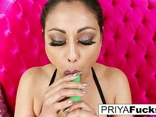 Priya Rai does some fun wardrobe play and self fucking!