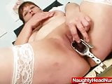 Big juggs aged wife wears practical nurse uniform and gets
