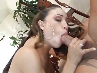 Petite Latina with cute tits rides a fat cock on the dining room floor