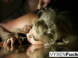 A tied up Vyxen Steel gets her throat, pussy, and ass fucked