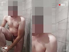 Security Guard Naked at work shower