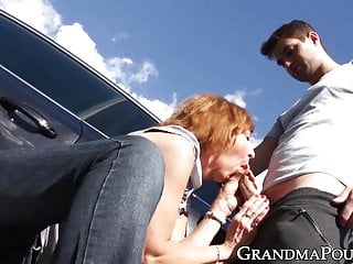 young creampied cock by help GILF repay to roadside Redhead