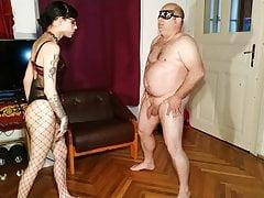 Ballbusting my old fat slave