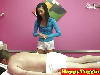 Glam asian massaging lucky client