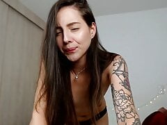 Colombian skinny girl with a tattooed body wants to impress