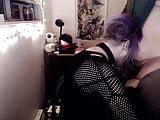 Purple haired trans girl sucks girlfriend's dick