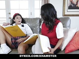 Dyked petite teen dominated amp fucked by tutor...