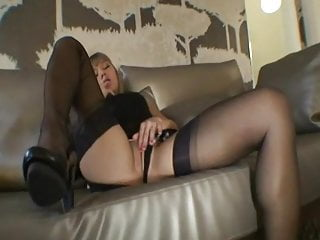 Fantastic Willa in black fully fashioned nylons