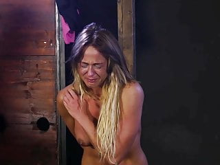 Blonde with big tits get some caning...