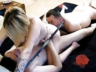 Homemade threesome bisex action with strapon cam...