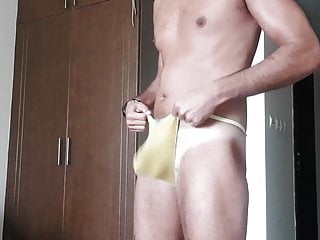 Jerking in my yellow panties and cock rings