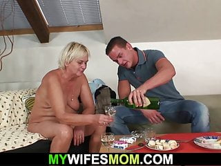 inlaw Boozed blonde hairy-pussy mother