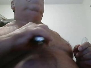 Daddy shaves breast on cam