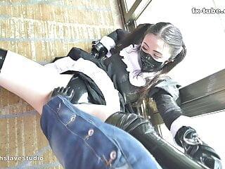 fx-tube com Cute maid latex stocks foot SM