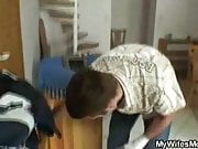 Blonde granny takes big cock deep down her snatch