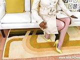 Blonde Milf flashing wanking in sheer nylon retro suspenders