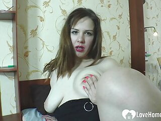 Busty girlfriend spreads her legs and fingers herself