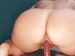 Plus size russian model ride on the dildo