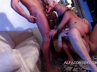 Short-haired blonde MILF enjoys DP threesome