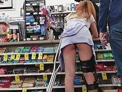 CVS Creep Shots slut on crutches ass hanging out shorts