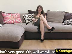 British babe sucks agents cock until he cums