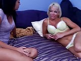 MILF and young girl masturbate with another girl's foot