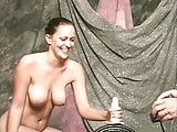 Brunette with huge rack rides a wild electric toy