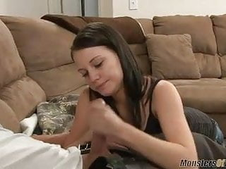 Brandi Belle handjob with mega cum load on her titties