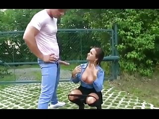 He washes the spunk off her titties with piss!