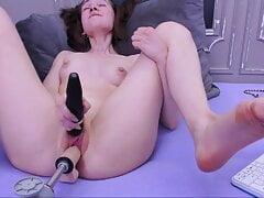 Vivian has long, intense fuck machine sex with orgasm