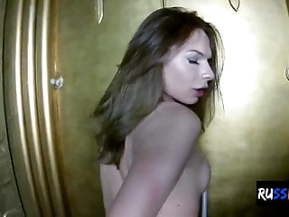 trans her off jerks Russian hard cock chick