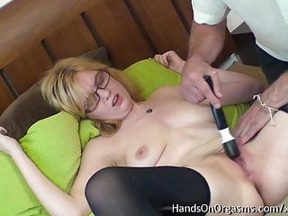 Blonde Babe with Great Tits Gets Pussy Massage To Orgasm