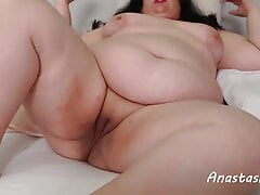 Beautiful toast with shaved pussy and big belly