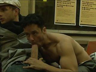 Guy sucks huge dick on Subway!