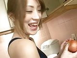 Kitchen maiden Yuu cooks up something hot in her kitchen wit