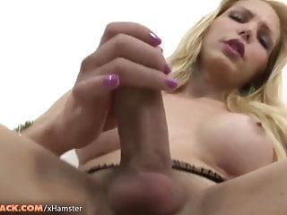 Latin Shemale Masturbation Shemale Big Tits Shemale video: Busty tranny in black corset jerks off big dick till massive