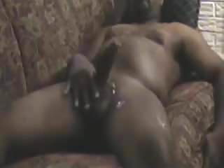 Strokes big cock until he cums...