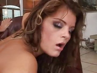 Sandwiched cutie. Fucker continues to fuck after cumshot