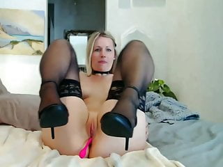 Sexy black stockings and high heels...