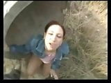 A guy is fucking with young beauty outdoors