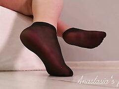 Wide feet in short nylon socks #1