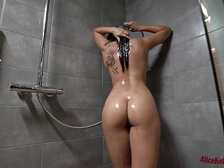 Babe Masturbates Wet Pussy and Has Intensive Orgasm in the Shower