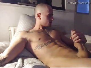 big cock stud cums on own face and six pack abs